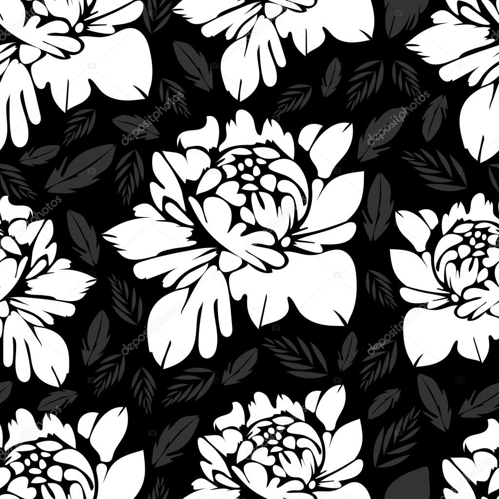 Abstract Black And White Flowers Seamless Pattern Vintage