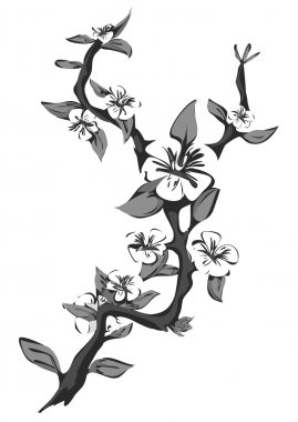 Abstract blossoming apple tree. Graphic branch of apple in black and white. Vector illustration