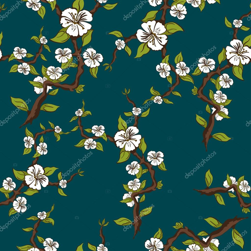 Blossoming apple seamless pattern. Apple tree branch with white flowers on blue-green background. Vector illustration