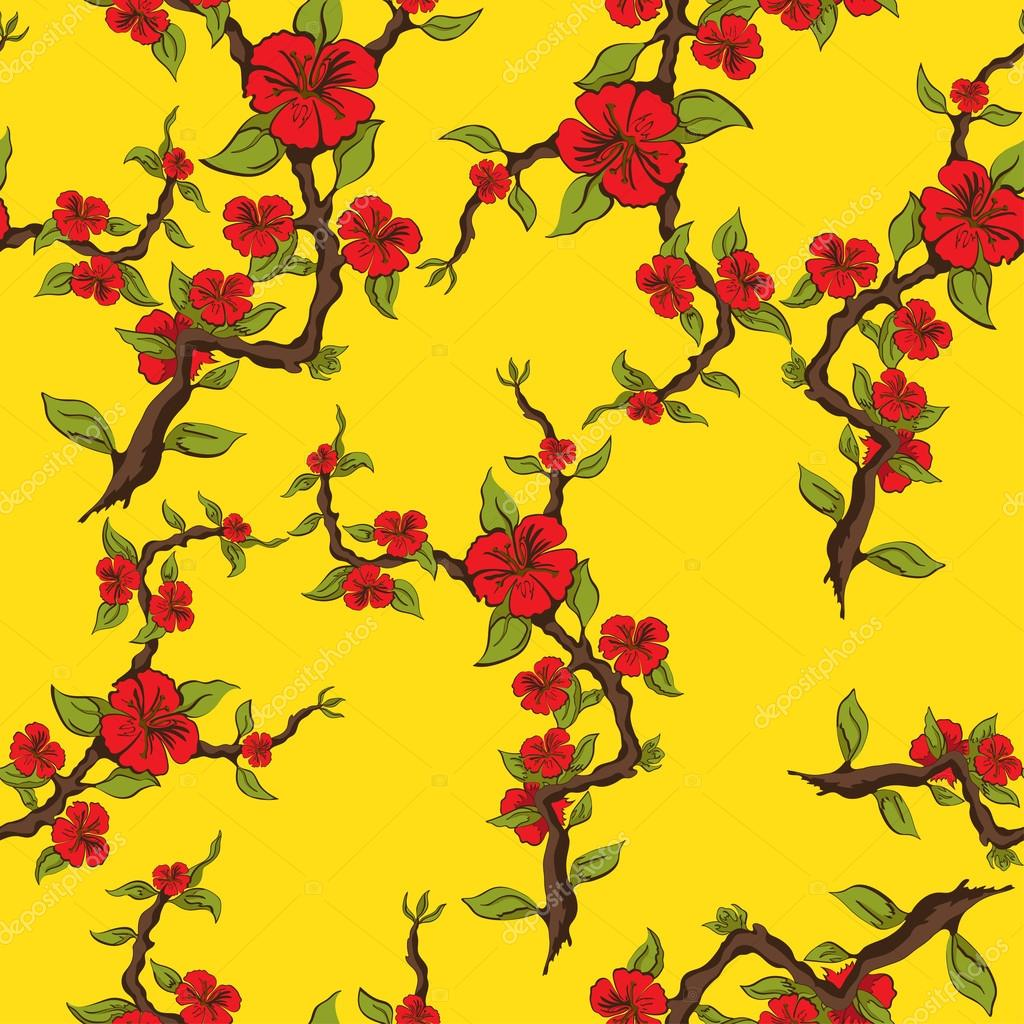 Seamless pattern of red flowers on a yellow background. Sprig of apple blossom. Vector illustration