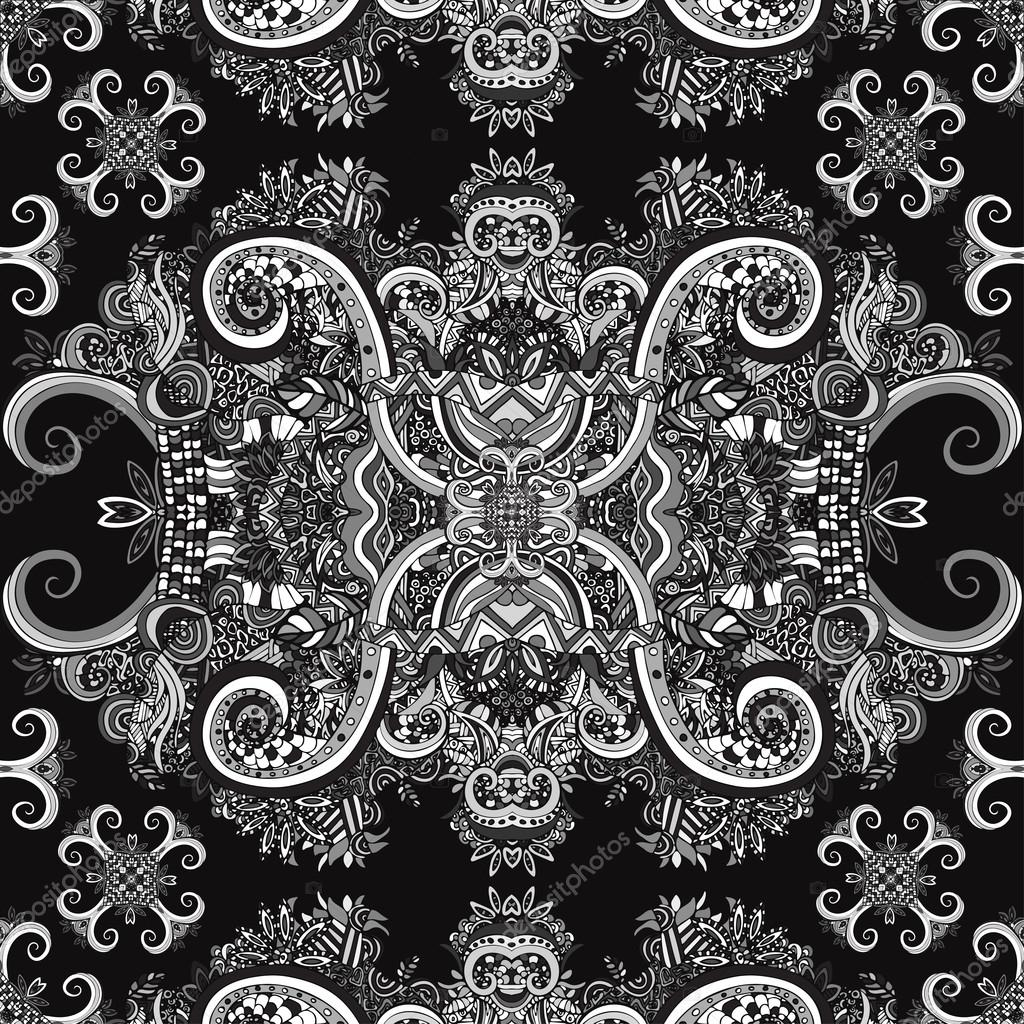Boho Ornament Texture Monochrome Ethnic Black And White Abstract Floral Plant Natural Seamless Pattern Vintage Decorative Elements