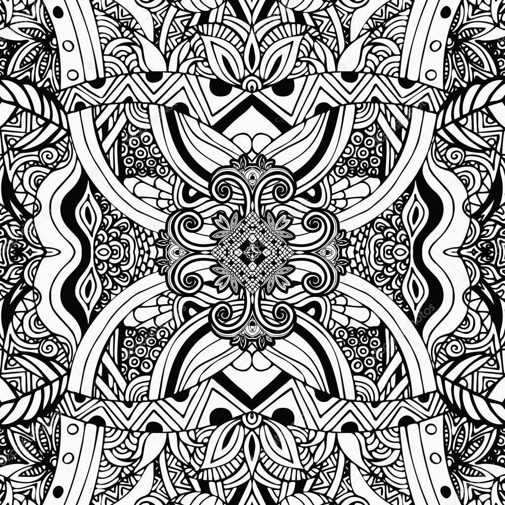 Monochrom Färbung Schwarz Weiß Muster Boho Stil Ethnische