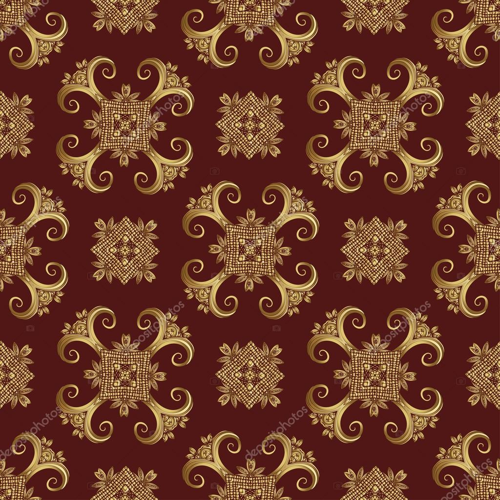 Gold Wallpaper Wrapping Repeatable Background Fabric Design Abstract Indian Oriental Pattern Vector By Eva Che