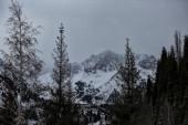 Krajina s mraky v horách v zimě.