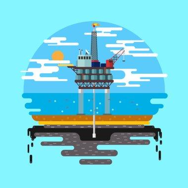 Oil platform sea Vector flat