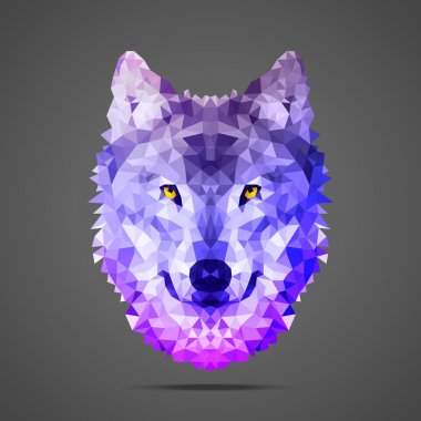 Wolf low poly Side light purple