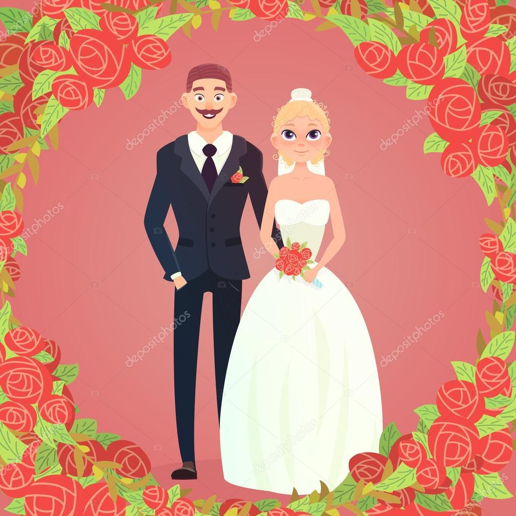 pareja de dibujos animados marco floral — Archivo Imágenes ...