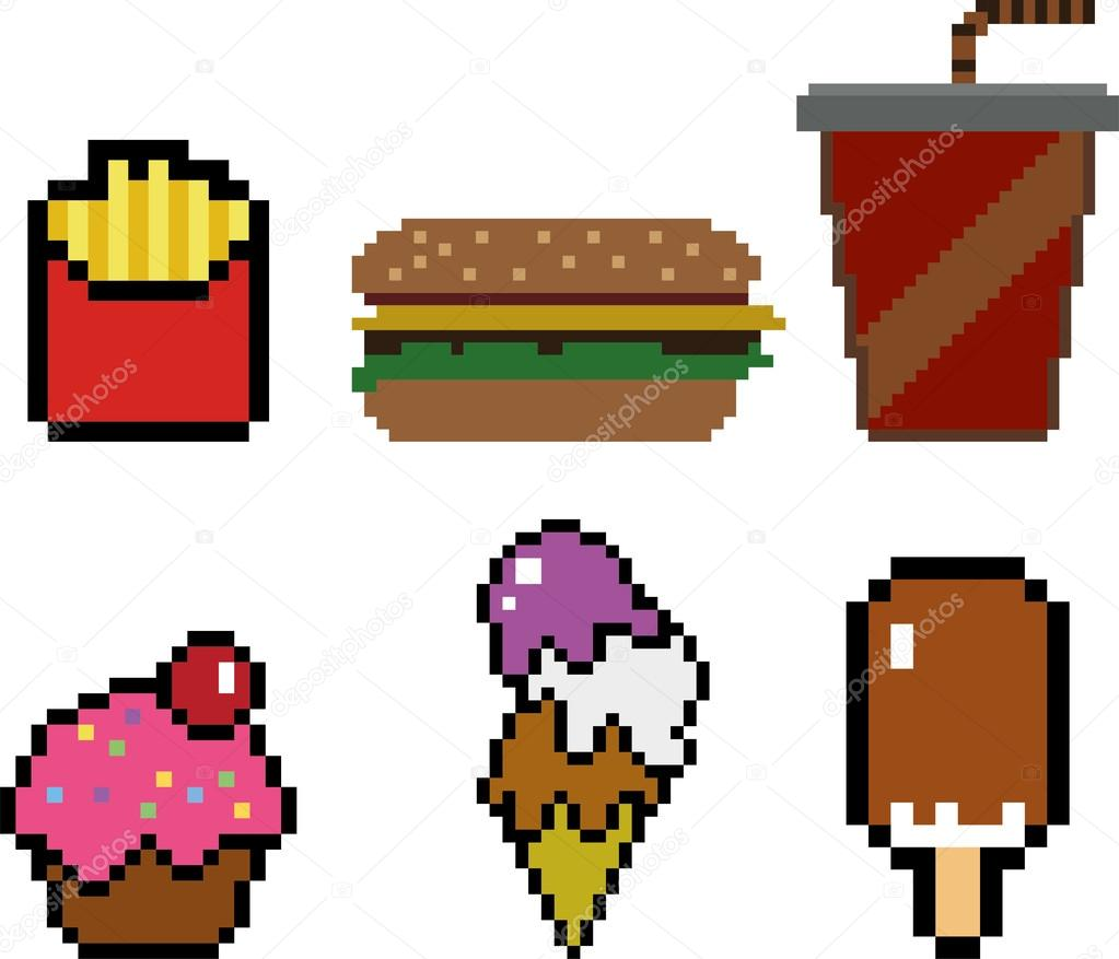 Fast Food à Style Pixel Art Image Vectorielle Sergeymarkov