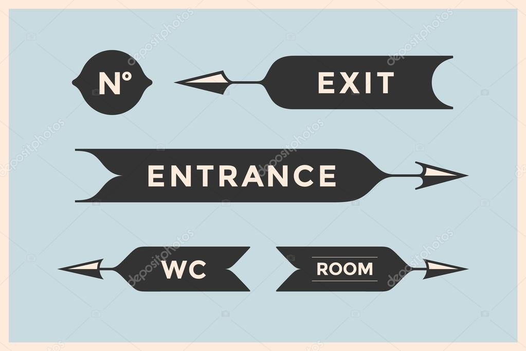 Set Of Vintage Arrows And Banners With Inscription Entrance Exit Room WC Design Elements In Retro Style For Navigation Sign On Color Background