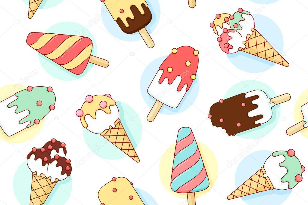 Bunte Musterdesign mit Eis verschiedene Pastell Farbe in Linie ...
