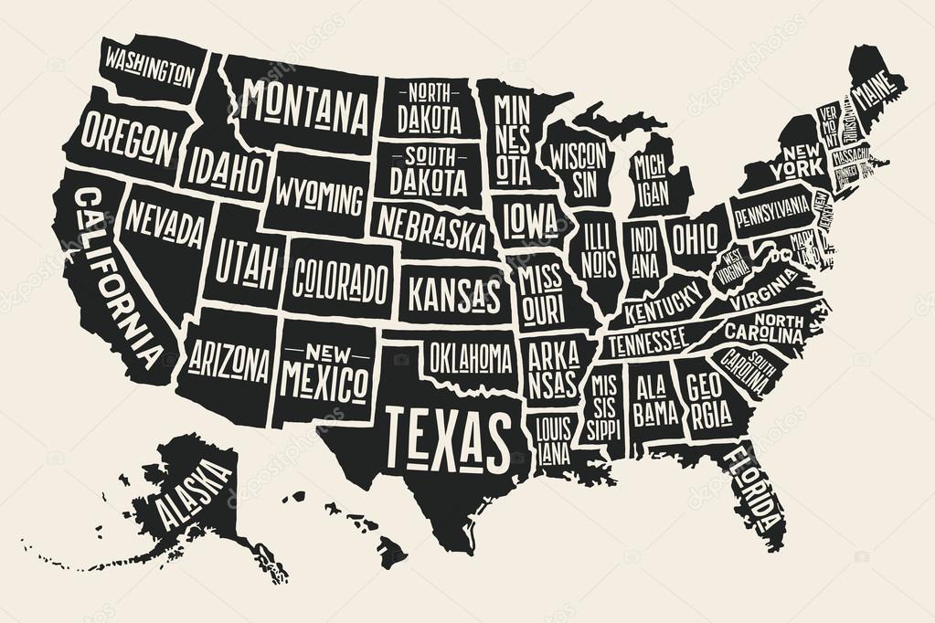 Top Mapa pôster Estados Unidos da América, com nomes de estado — Vetor  RS02