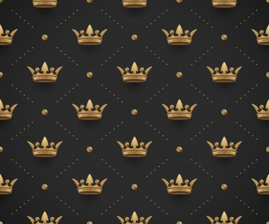 Seamless gold pattern with king crowns on a dark black background. Vector Illustration.