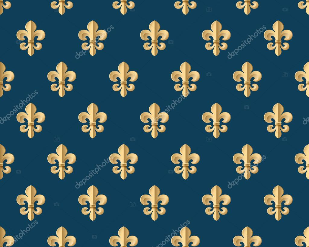 Seamless Gold Pattern With Fleur De Lys On A Dark Blue