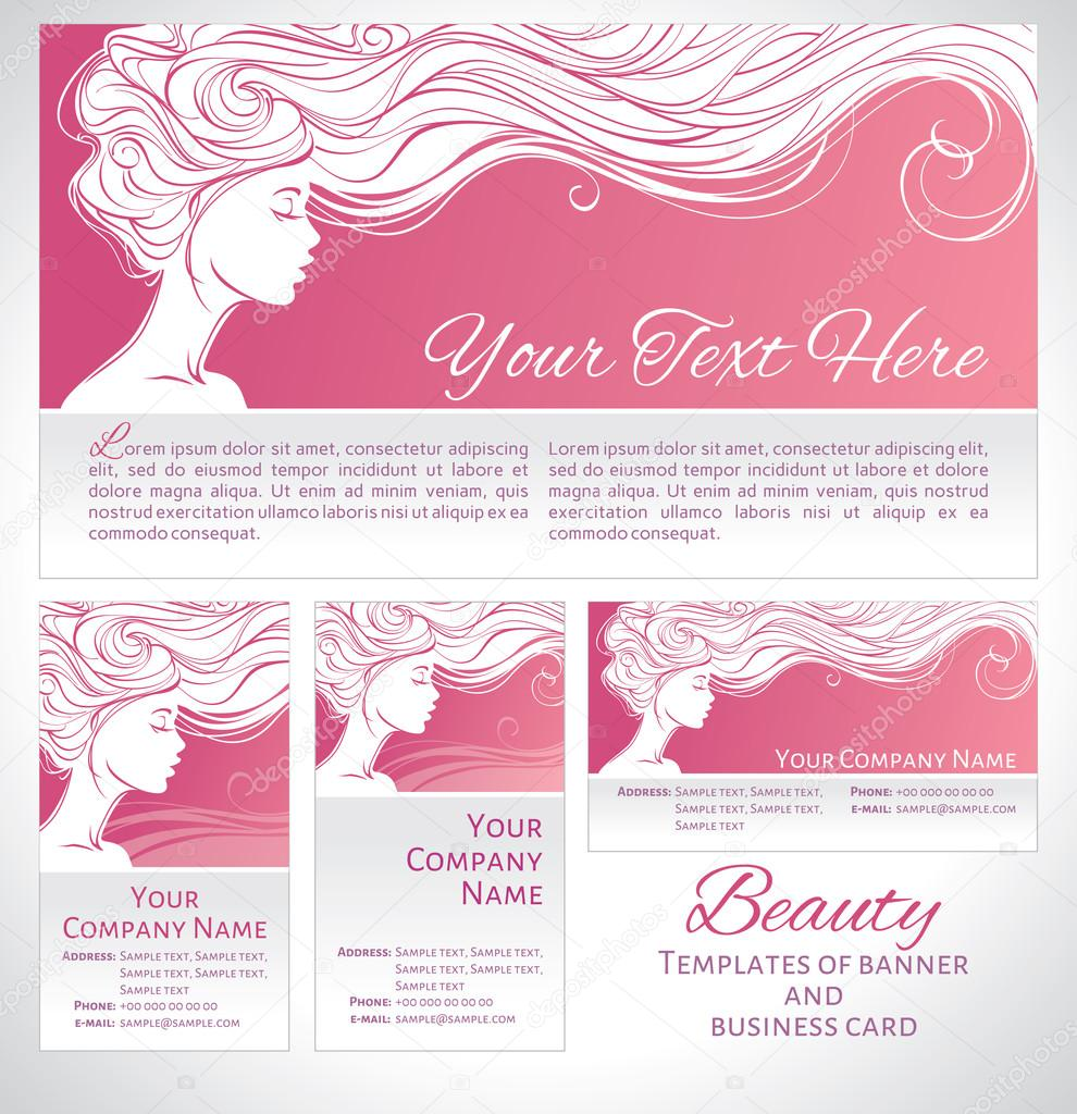 Beautiful Silhouette Of Long Hair Woman On Pink Background Corporate Identity Branding Template Banner Flyer And Business Card Concept Design For