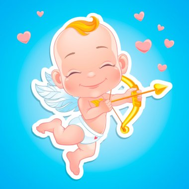 Vector illustration with Baby Cupid shooting a bow clip art vector