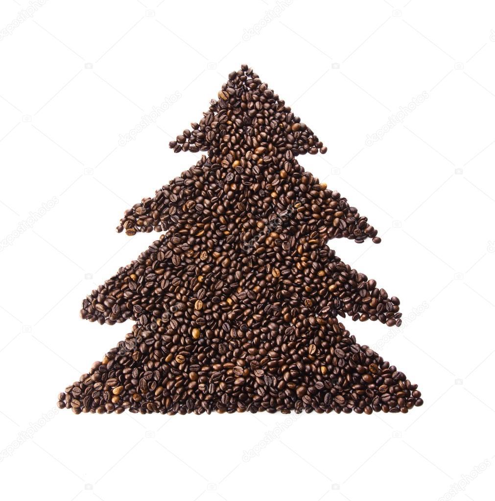 Coffee Christmas Tree.Christmas Tree Made From Coffee Beans Stock Photo
