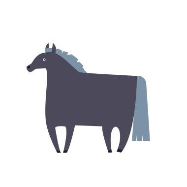 flat cartoon horse