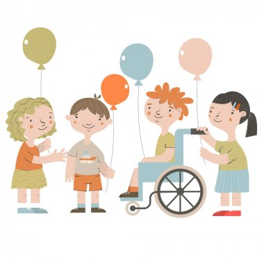 Handicapped kids with friends