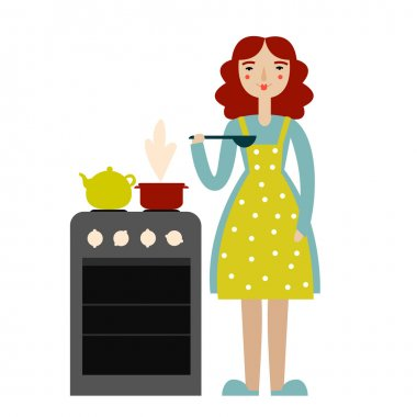 Cooking woman illustration