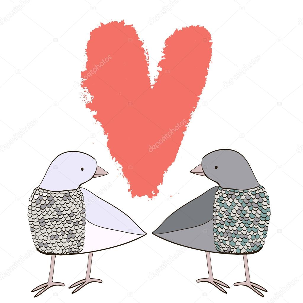 Cartoon couple of doves — Stock Vector © AnnaIsaeva #95348254