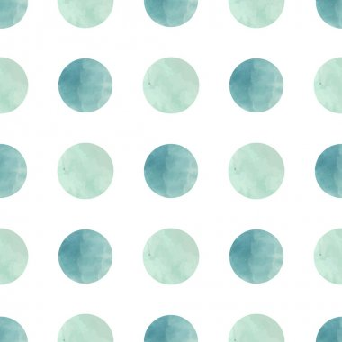 Watercolor texture. Seamless pattern. Watercolor circles in pastel colors on white background. Pastel colors and romantic delicate design. Polka Dot Pattern. Fresh and Mint Colors. clip art vector