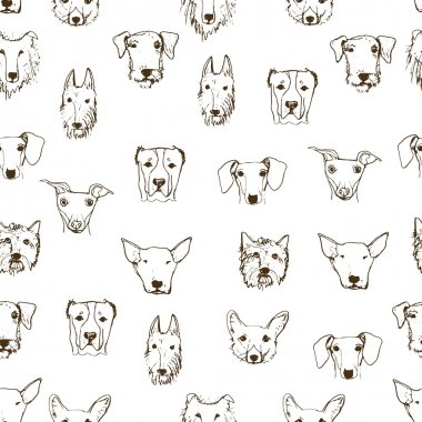 Seamless pattern with hand drawn dog heads. Dog breeds. Hand drawn sketch made in vector. Isolated. Pitbull, corgi, dachshund, Alabai, Collie, Eldertererer, Terrier. clip art vector
