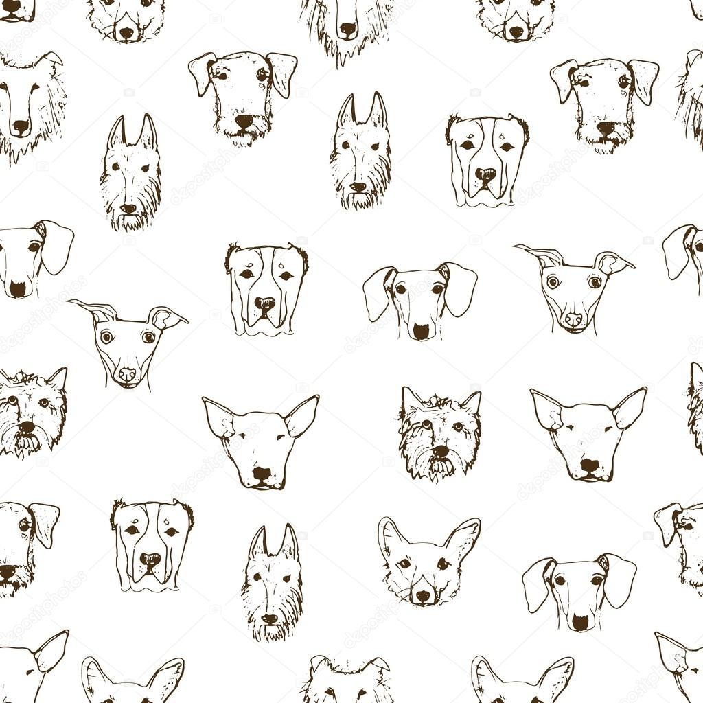 Pattern With Hand Drawn Dog Heads Stock Vector Annaisaeva 98988280