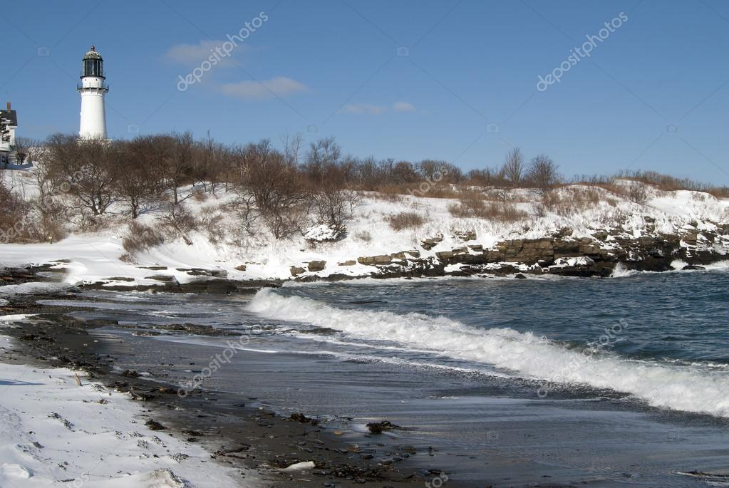 Фотообои Snow Covered Beach By Lighthouse