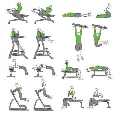 Set of systematic bodybuilding exercises
