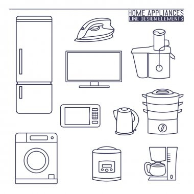 A vector collection of home appliance icons and line illustrations stock vector