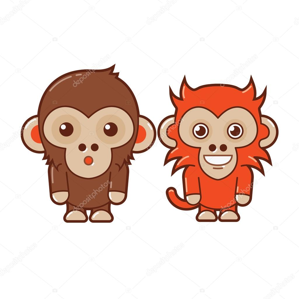 Chimp & Monkey. Cute Animal Illustration 3
