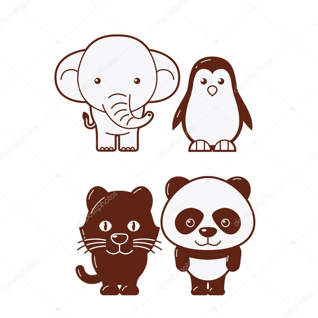 Elephant, penguin, panther & panda. Cute Animal Illustration Set 3