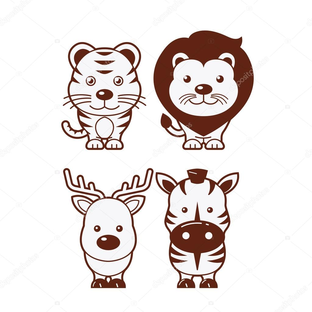 Tiger, lion, deer & zebra. Cute Animal Illustration Set 1