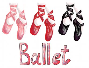 Red, pink and black ballet pointe shoes on white background