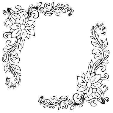 Black corner floral ornaments on white background stock vector
