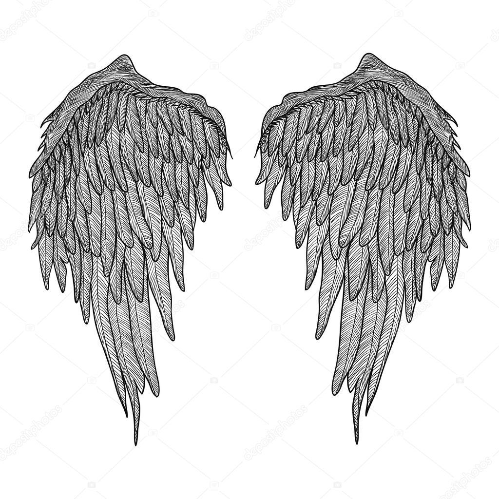 Skrzydła Anioła Czarno Biały Ilustracja Realistyczne Tatuaż