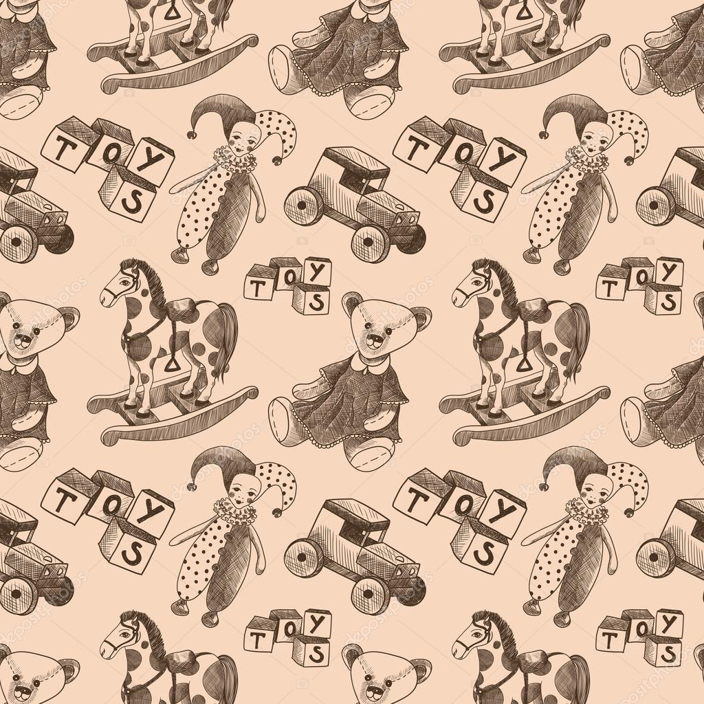 Seamless Pattern With Vintage Toys Dolls Cubes Jesters Teddy