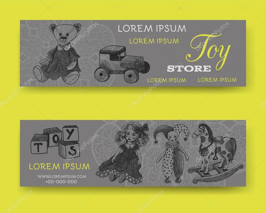Sitio web conjunto de banner o encabezado. Tienda de juguetes ...