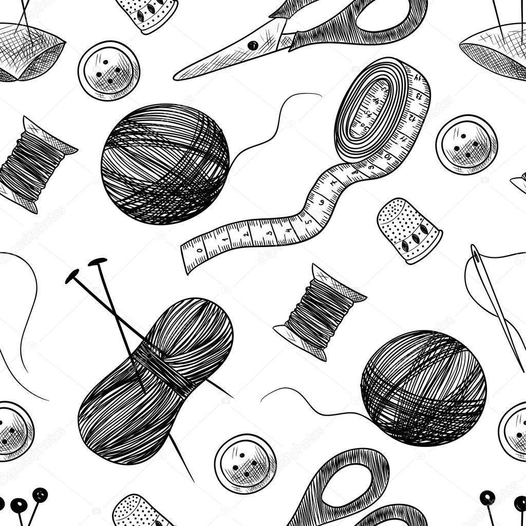 Dibujos: cosas de costura | Patrón transparente con cosas de costura ...