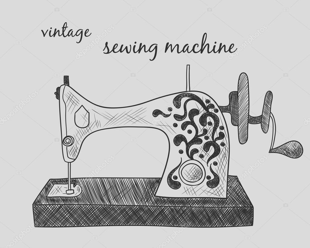 Dibujos: vintage blanco y negro | Máquina de coser vintage