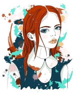 Portrait of a beautiful girl with red hair. Fashion illustration on abstract background