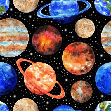 Seamless pattern with the planets of the Solar system on black background. Mercury, Venus, Earth, Mars, Jupiter, Saturn, Uranus, Neptune, Pluto. Watercolor illustration