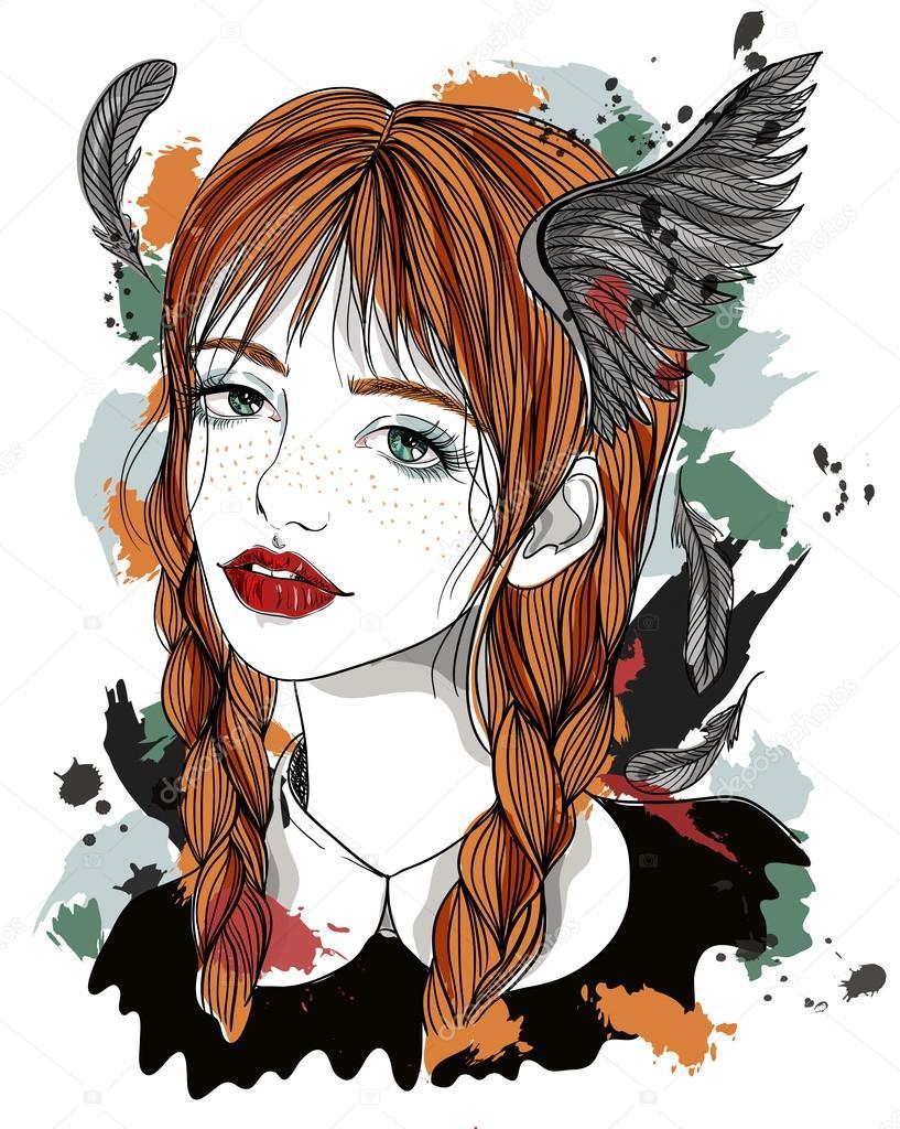 彼女の髪に羽を持つ美しい少女の肖像画翼を持つ赤髪の少女