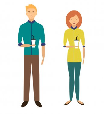 Boy and girl with paper cups of coffee. Flat illustration. Vector stock.