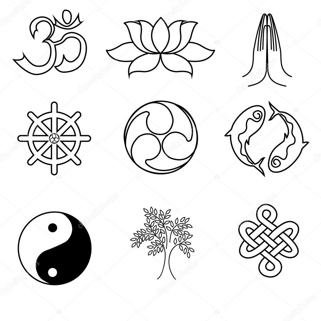 A Set Of Religion Symbols Buddhism Black Silhouettes Isolated On