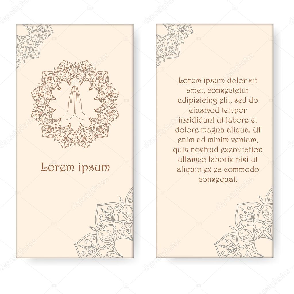 template for yoga retreat or yoga studio banners praying hands and