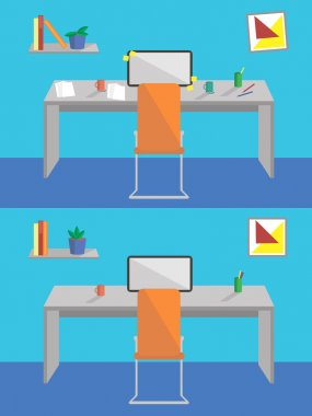 Flat design interior before and after cleaning. Concept of work place with computer, laptop,shelf, books, and cup of coffee on blue wall background
