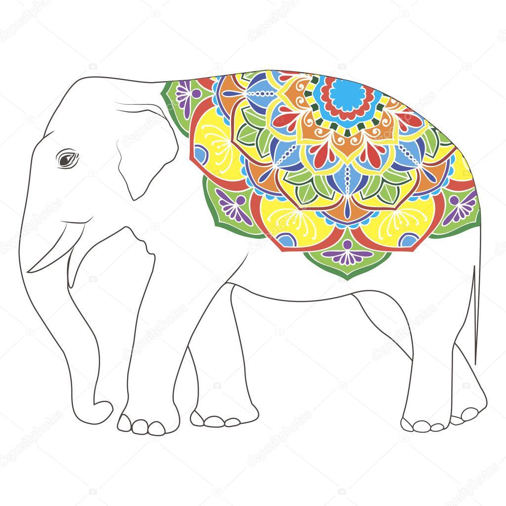 Vintage Elefant mit tribal Ornamente — Stockvektor © exit.near.gmail ...