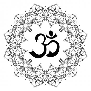 Om symbol, aum sign, with decorative indian ornament mandala, isolated on white background. Vector illustration