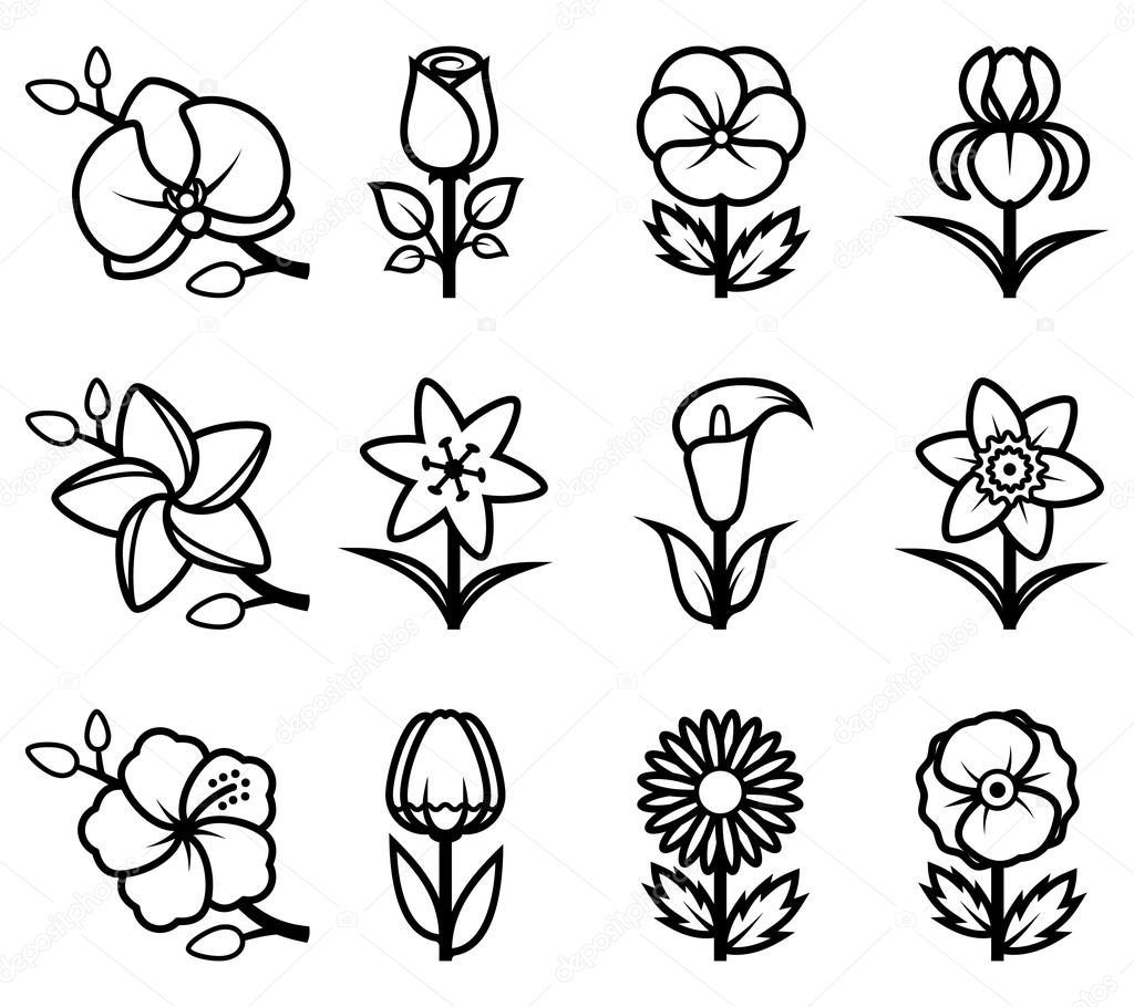 Insieme dell 39 icona di fiori stilizzati vettoriali stock for Fiori stilizzati immagini